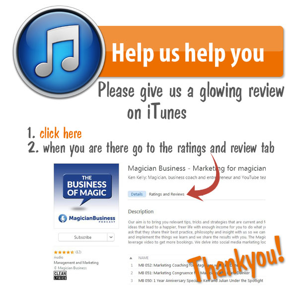 Magician Business Podcast iTunes Rating and Review