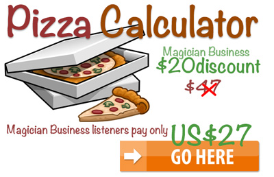 Pizza-Calculator magician Business Special Offer for Zivi Kivi